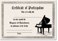 piano recital certificate. Genius!  I always want to make the kids feel special for performing and this is a great way to do that!