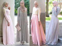 Soiree hijab classy dresses-New street looks by Leena Asaad… Modest Outfits, Modest Fashion, Hijab Fashion, Muslim Women Fashion, Islamic Fashion, Beautiful Hijab, Beautiful Dresses, Habits Musulmans, Beau Hijab