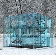 Glass House in Woods, Denmark.  Maybe not a dream home, cuz BRRR!  But damn, that's cool!