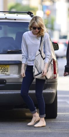 Emma's cute casual dolman sweater outfit