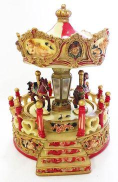 Music box kingdom 14198 carousel angel with porch moonlight sonata red horses