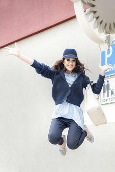 Model sme doplnili pohodlnými mokasínami, kabelkou a veľmi štýlovým plsteným klobúčikom z novej jesennej kolekcie Baťa.