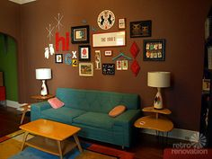 Gallery wall inspiration - oddly enough, this is the same paint color as my current living room.