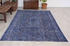 Turkish rug, 5.6 x 9.1 ft., navy blue rug, vintage rug, over dyed rug, area rug, oversized rug, bohemian rug, floor rug, living room rug by Rugshine on Etsy Blue Rugs, Rugs In Living Room, Rug Making, Floor Rugs, Vintage Rugs, Bohemian Rug, Area Rugs, Navy Blue, Flooring