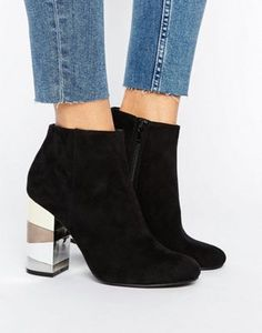 New Look Contrast Block Ankle Heeled Boot