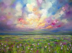 Colourful Prairie and Big Sky Abstract Landscape Painting by Canadian Western…
