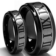 Buy Tungsten Wedding Band,Wedding Band Set Matching,Black Brushed Roman Numeral Center with Polished Edge,Wedding Band Ring Set ,His,Her,8MM.6MM by jewelrysquare. Explore more products on http://jewelrysquare.etsy.com