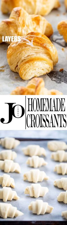 These Flaky Buttery Homemade Croissants will make your morning breakfast so much more delicious! A complete recipe guide with pictures and video to teach you to make the most perfect croissants from scratch. the best recipe Delicious Desserts, Dessert Recipes, Yummy Food, Tasty, Biscuits, Bread Recipes, Cooking Recipes, Homemade Croissants, Croissant Recipe