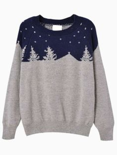 Christmas Trees Pattern Blue Jumper | Choies