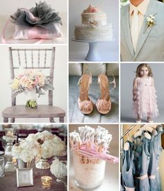 love, love, love this blush pink and grey wedding. But instead each member of bridal party having a different collar. One pink, one turquoise, one yellow, one orange, one purple.