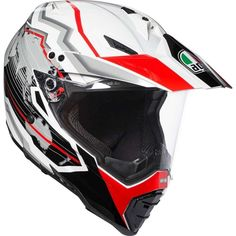 The AGV Dual Evo Earth has been added to the Dual range for This is a full face helmet purposefully designed for adventure motorcycle riding and touring. Agv Helmets, Motorcycle Helmets, Evo, Techno, Shell, Ventilation System, Off Road, Red And White, Black