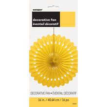 "Yellow Tissue Paper Decorative Fan, 16"""