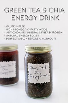 Green Tea and Chia Seed drink - I never thought about adding chia seeds to tea.