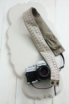 dslr camera strap cover - mushroom colored base with neutral cotton lace