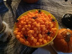 halloween party decor...would be cute to make a kids table with the cheese balls! :)