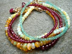 Stackables 90: Boho Stacking Bracelets in Large Ethiopian Golden Opal, Large Ethiopian Yellow Opal, Ruby, Emerald, and Red Spinel