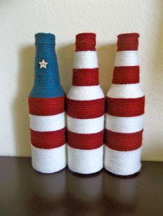 Items similar to 3 Americana Decorative Yarn Bottle Vases on Etsy Liquor Bottle Crafts, Wine Bottle Corks, Diy Bottle, Beer Bottles, Bottle Vase, Glass Bottles, Yarn Bottles, Wine Craft, Art Nouveau