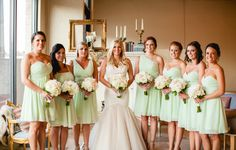 Green Bridesmaids.  Our pink & blue lounge area.  Vintage decor by RENT MY DUST Vintage Rentals Dallas Texas at 809 Vickery, Fort Worth