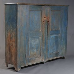 """Large Country Cupboard in Original Blue Paint with two paneled doors 73"""" x 19"""" x 62"""" mid 19th century Large Country Cupboard in Original Blue Paint"""