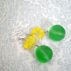 """Dots"" Vintage Glass Bead Sterling Earrings by magnolia jewel designs"