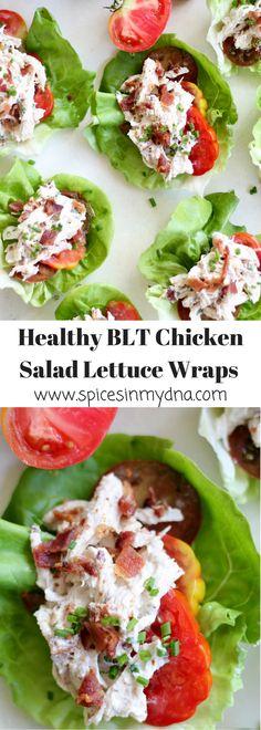 "Healthy BLT Chicken Salad Lettuce Wraps (minus the ""T"" for me) Lettuce Wrap Recipes, Lettuce Wraps, Lunch Recipes, Appetizer Recipes, Salad Recipes, Appetizers, Good Healthy Recipes, Healthy Foods To Eat, Healthy Snacks"