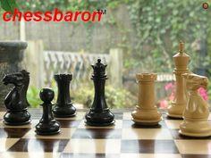 Margaret Anne Knight 4 inch King Triple Weight Ebony Chess Set