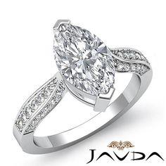Flashy Marquise Diamond Cathedral Pave Engagement Ring EGL F VS1 Platinum 1 4 Ct | eBay
