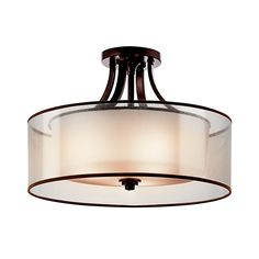 Kichler Lighting Lacey 20-in W Mission Bronze Etched Glass Semi-Flush Mount Light  $429.00 - Lowes