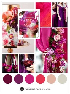 Go bold. Mulberries, rich purples, and a mix of lush florals make for a perfect palette for your summer or fall wedding.