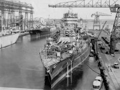 USS Idaho and USS Mississippi being refitted in drydock