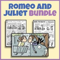 """This Romeo and Juliet and Shakespeare Bundle combines """"Romeo and Juliet Comic Summaries and Activities""""  and the """"Intro to Shakespeare Activity Bundle."""" The Romeo and Juliet set includes summaries of each act. When I teach Romeo and Juliet, I don't like summaries that are too long or give too much away. In addition, I have added my Intro to Shakespeare Activity Bundle."""