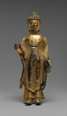 Standing Buddha, South and North Kingdoms period (668–935), Unified Silla, 8th century. Korea. Gilt bronze; H. 5 1/2 in. (14 cm). The Metropolitan Museum of Art, New York, Rogers Fund, 1912 (12.37.136) © 2000–2015 The Metropolitan Museum of Art.