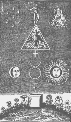 Alchemical depiction of the Cubic Stone, with Saturn and his scythe on top