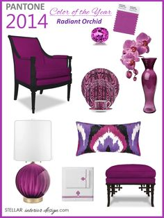 Pantone Color of the Year 2014, Interior Design Boards, Radiant Orchid, Purple Home Decor, Color Trends, Online Interior Design Services, e-decorating, www.stellarinteriordesign.com/color-year-2014/