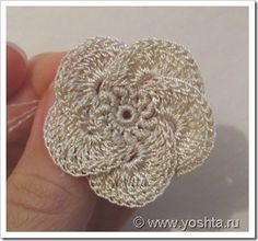 Russian #Tutorial for #Irish_Crochet #Flower. I especially love the bouillon stitches in the center of the flower.