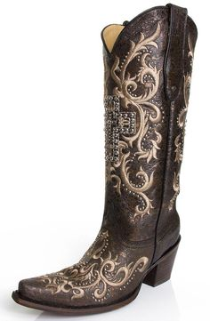 Corral Women's Studded Cross Tall Top Boots Vintage [C2873]