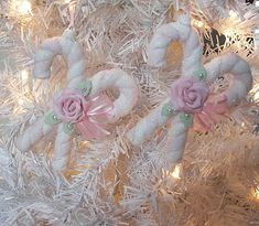 Pink Clay Roses Candy Cane Christmas Ornament Chic n Shabby by Rose Brook Cottage