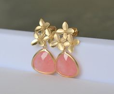 Coral Pink Teardrop and Gold Cherry Blossom Flower Post Earrings. Coral Bridesmaid Earrings. Drop Earrings. Gold Earrings. Free Shipping.