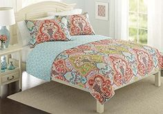 Get this Turquoise & Coral Tropical Beach Quilt Bedding Set.  It features bright colors and a colorful tropical design.  Reinvent your bedroom in one easy step.