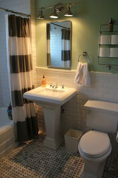 White brick pearl shell tile fireplaces tile and bath for Backyard guest house with bathroom