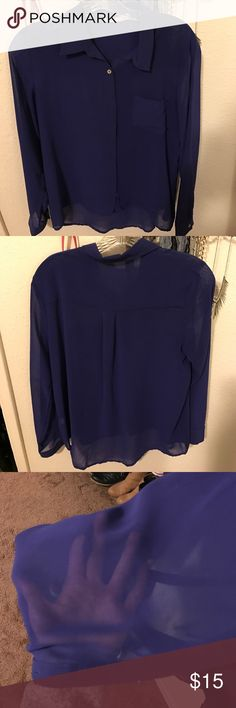 Royal blue blouse Sheer fabric royal blue blouse. New without tags. Great for business casual wear. Tops Blouses