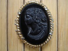 Vintage 1960s Cameo Pill Holder Compact  Black Onyx by bycinbyhand, $22.00