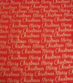 Holiday Inspirations Fabric-Christmas Merry Christmas Red Metallic at Joann.com