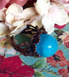 Kawaii Sweet Pastel Goth Glass Blue Glow In The Dark Bubble Ring by GeekFreakBoutique