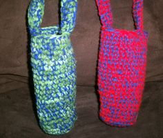 Custom made crocheted water bottle holders in two colors -- many other options available; makes a great gift for kids or teens  #CreationsByMaris