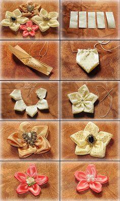 DIY Ribbon Flower Tutorial - #art, #diy, craft