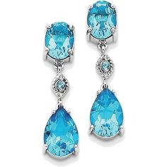 14K White Gold Oval Blue Topaz Dangle Earrings (1.770 RON) ❤ liked on Polyvore featuring jewelry, earrings, 14k white gold jewelry, blue topaz jewelry, oval earrings, long earrings and 14k jewelry