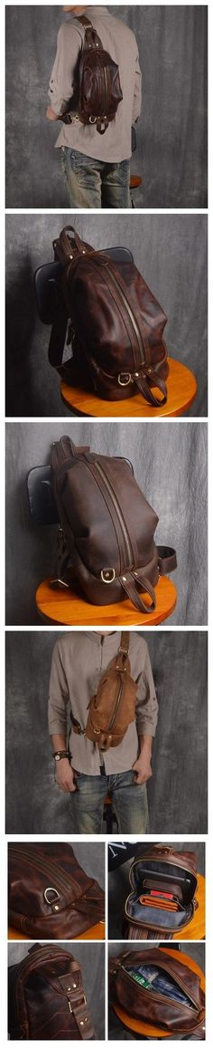 Handmade Men's Full Grain Leather Chest Bag Sling Shoulder Bag Unbalance Leather Backpack Leather Briefcase, Leather Backpack, Leather Wallet, Leather Bag, Fashion Bags, Men Fashion, Photography Bags, Leather Suspenders, Men's Backpack