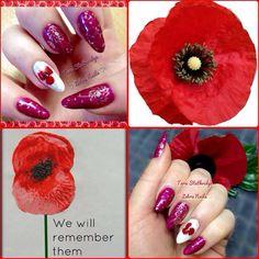 Remembrance nail art poppy nails