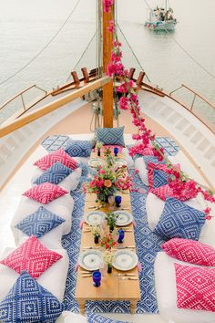 This Greece sailboat elopement is bursting with vibrant colors, pattern play and climbing bougainvillea in the most epic boat party we have seen since the Dancing Queen scene in Mammia Mia. If you love custom heraldry, whimsical motifs or modern romantic table settings, head over to Ruffled Blog to see this destination wedding along the Aegean Sea in all its glory! #sailboatwedding #greeceelopement #bougainvilleamood Greece Party, Greece Wedding, Yatch Party, Mamma Mia Wedding, Romantic Table Setting, 21st Party, 17th Birthday, Wedding Reception, Party Themes